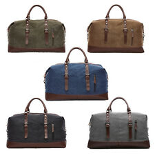 """Men's 22""""Large Leather Canvas Lightweight Luggage Bags Weekend Overnight Duffle"""