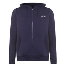 MENS NAVY BLUE SLAZENGER ZIP UP HOODED HOODIE HOODY SWEATSHIRT JUMPER TOP