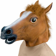 Halloween Horse Head Mask Latex Animal Costume Latex Adult Fancy Dress