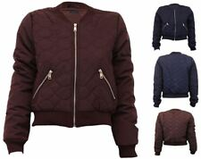 Womens Brave Soul Vintage Plain Quilted MA1 Winter Bomber Jacket