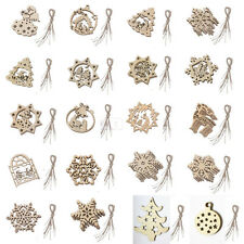 10 Wooden Christmas Tree Hanger Decorations Xmas Santa Reindeer Snowflake Bells