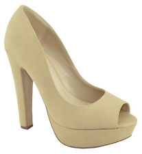 Speed Women Stiletto High Heels Classic Pumps Platform Open Toe Beige Nude FARE