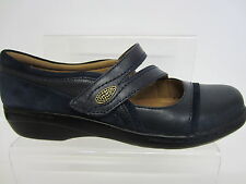 Clarks Ladies NAVY Leather Shoes EVIANNA CROWN UK 3 x 9 (R3B)