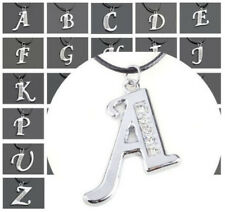 Initial Letter Alphabet Crystal Pendant Charm Necklace-Black Cord-Chain Choker