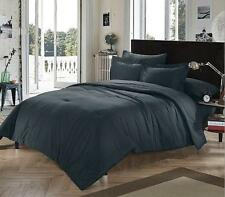 Twin XL College Dorm Cotton Twill Modern Solid Black Comforter Bedding Set