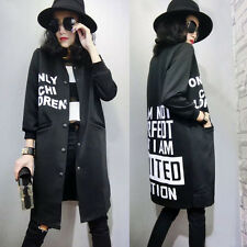 Women Slim Long Baseball Uniform Jacket Lady Loose Cardigan Parka Coat OUTERWEAR