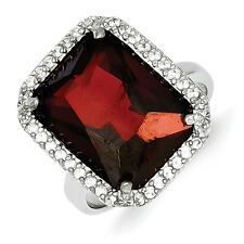 Sterling Silver Rectangle Clear and Red CZ Ring - Ring Size: 7 to 9