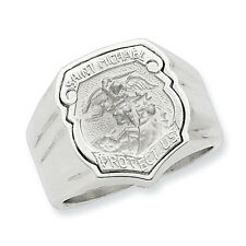 Sterling Silver Mens Saint Michael Ring - Ring Size: 9 to 11