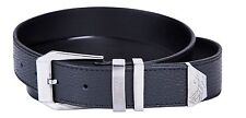 Nwt VERSACE COLLECTION Black Pebbled Leather Medusa Buckle Belt With Box V910144