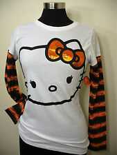 Sanrio Hello Kitty Long Sleeve Shirt Fitted Top Metalic Bow Face Halloween New