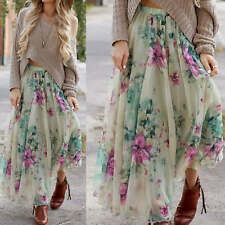 Elegant Women's Floral Casual Boho Hippy Long Maxi Skirt Beach Dress Sundress