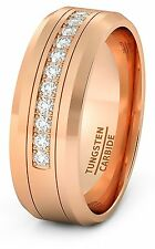 8mm Rose Gold Tungsten Carbide Ring 11 Trillion with Brilliant CZ Diamnds Mens