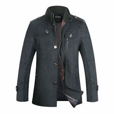 Mens Winter Wool Blend Coat Single Breasted Peacoat Trench Coats Reefer Jacket