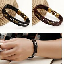 Genuine Stainless Steel Men's New Braided Leather Cuff Bangle Bracelet Wristband