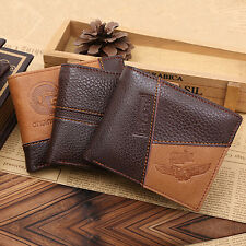 Men Coffee Full-Grain Leather Bifold Wallet Credit Card Holder Purse Natural