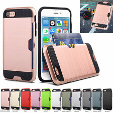 Slim Hybrid Brushed Card Holder Hard Case Cover Skin For iphone 7 Plus 6S 5S SE