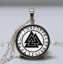 Valknut Pendant Viking Rune Necklace Norse Warriors Symbol Silver Asatru Celtic