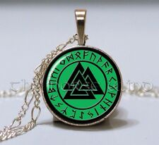 Green Valknut Pendant Viking Rune Necklace Norse Warriors Symbol Silver Asatru