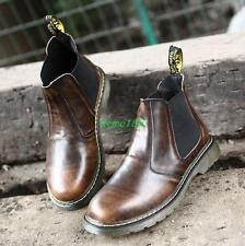 Mens work pull on leather Chelsea boots outdoor military hiking ankle boots size