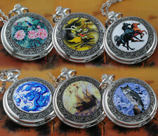 New Fashion Steampunk Analog Quartz Pocket Watch Necklace Pendant Chain Men Lady