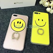 For Apple iPhone 7 7Plus Fashion Facial Sweet Smile TPU Finger Rings Case Cover