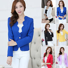 Fashion Women Casual Formal Blazer Suit Long Sleeve One Button Short Jacket Tops