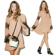 Womens Long Sleeve Chiffon Lace Splicing Cocktail Evening Party Mini Dress OK