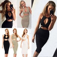 New Women Sexy Sleeveless Cut Out Bandage Bodycon Stretch Club Party Dress OK