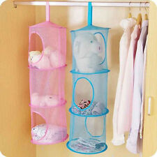 Home 3Tier Compartment Mesh Net Hanging Storage Toy Bedroom Bathroom Organizer