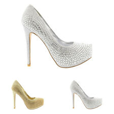 Womens Evening Platforms High Heels Stiletto Diamante Party Court Shoes US 5-12