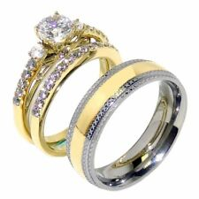3 PCS Couple Her Round CZ Gold IP Stainless Steel Wedding SET/Mens Matching Band