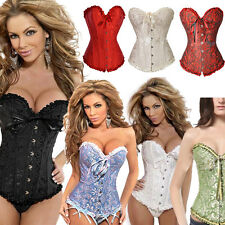 Women Lingerie Sexy Overbust Push Up Floral Corsets Bustiers Shapewear S-6XL