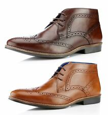Red Tape Milton Mens Lace Up Brogue Leather Ankle Boots Round Toe Brown Tan