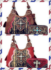 New Concealed Carry Cross Flower Handbag Purse with Matching Wallet Set 3 Colors