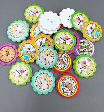 DIY Wooden Animal prints Clocks flower Buttons Sewing Scrapbooking crafts 25mm