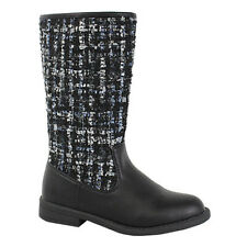 I YOKIDS EE17 Girl's Knee High Knitted Shaft Stacked Riding Boots