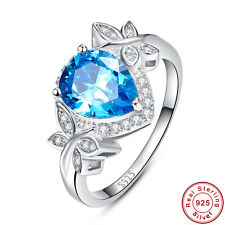 Swiss Blue & White Topaz Wedding S925 Sterling Gemstone Silver Ring Size 6 7 8 9