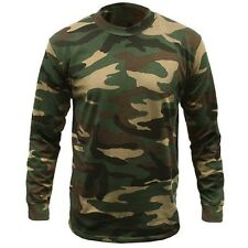 Men's Camouflage Camo Army Woodland Long Sleeve T Shirt Top Hunting Shooting New