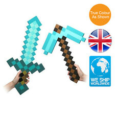 Minecraft Large Diamond Blue Sword Pickaxe Set Plush Doll Soft Toy Mosaic EVA