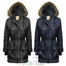 Ladies Parka Jacket Quilted Fur Hooded Zip Womens Toggle Button Coat Size 8-14