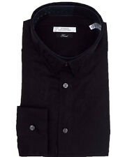 VERSACE Collection Mens Black Paisley Design Cotton Casual Long Slv Dress Shirt