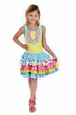 JELLY THE PUG Girls Chloe Bird Knit Boutique Dress Floral Dot Ruffle Size 10 NWT