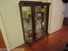 ANTIQUE QUEEN ANNE STYLE BOW FRONTED GLASS DISPLAY CHINA CABINET