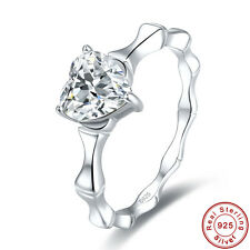 Lover Heart Cut White Topaz 100% S925 Sterling Gemstone Silver Ring Size 6 7 8 9