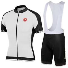 castelli WHITE Cycling Clothing Jersey & Bib Shorts Kit Sets Coolmax