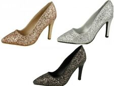 Ladies Anne Michelle High Heel Pointed Toe Glitter Court Shoes - F9949