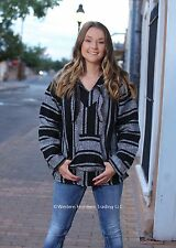 Classic Mexican Baja Hoodie Pullover Poncho, Black/White, XXL by El Paso Designs