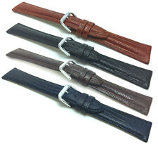 Womens', Lizard Style, Leather Watch Band Strap, Glossy, 12mm to 20mm, 4 Colors