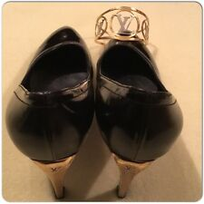 Louis Vuitton Black Pointed Platform Heel Shoes With Gold  LV on Heel Size 39