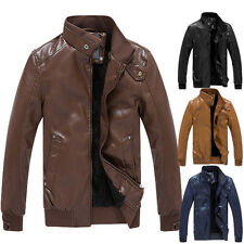 Men's Faux Leather Motorcycle Jacket Warm Winter Retro Fleece Lining Outwear